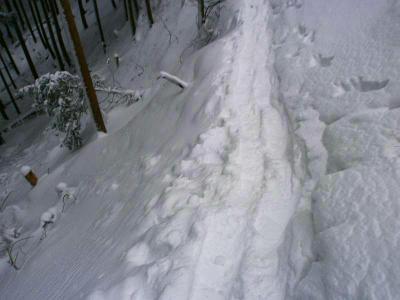 新道コースの滑落しやすい箇所