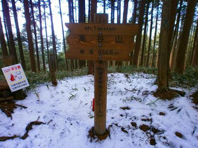 高谷山山頂(934.8m)に到着。この山頂には何もなくただ看板があるだけという感じだった